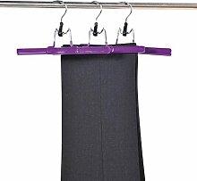 9 Stück Kesper Hosenspanner, Hosenbügel, Hosenklemmer, (3 x 3er Pack), aus Metall und Kunststoff, Breite: 250 mm, in lila