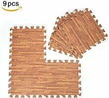 9 Teile 30x 30cm Puzzle-Teppich aus EVA-Schaumstoff Holzstruktur in drei Farben Light Brown Random