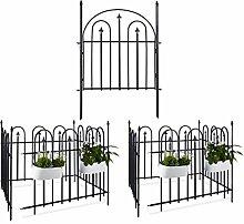 9 teiliges Gartentorset GOTH, aus Metall, 8 Zaunelemente und 1 Garentor, mit Pfosten, Antik Design