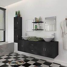 9-tlg. Badmöbel und Waschbecken Set Schwarz