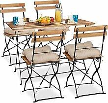 9 tlg Gartensitzgruppe aus Holz natur, Gartentisch