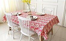 90* 140Rot Floral Leaf Cottage Instagram Tisch