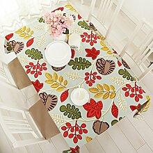 90cm * 90cm rot gelb Leaf Cottage skandinavischen Instagram Tisch Tuch Baumwolle Leinen Esstisch Garten Picknick quadratisch, rechteckig Umweltfreundlich,