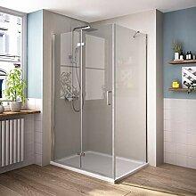 90 x 80 cm Duschkabine Eckeinstieg Dusche Falttür