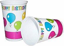 90 x Partybecher Trinkbecher Birthday Party 0,2 l Geburtstag Party Deko