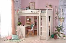 90x200 Hochbett inkl integrierter Schreibtisch u Schrank Higher 1a von Parisot Nordische Esche