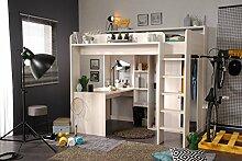 90x200 Hochbett inkl integrierter Schreibtisch u Schrank Higher 1b von Parisot Nordische Esche by Wohnorama