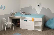 90x200 Hochbett inkl Schreibtisch u 2 Schubladen Milky b von Parisot Weiß / Grey Loft