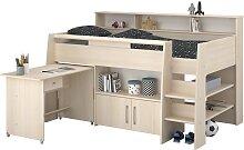 90x200 Hochbett mit ausziebarem Schreibtisch und
