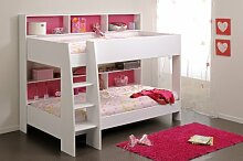 90x200 Kinder Etagenbett Weiß Rückwand Pink
