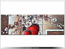 90x30cm - Leinwandbild mit Wanduhr - Moderne Dekoration - Holzrahmen - Orchideen in einer roten Vase