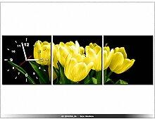 90x30cm - Leinwandbild mit Wanduhr - Moderne Dekoration - Holzrahmen - Gelbe Tulpen - Mark Freeth