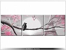 90x30cm - Leinwandbild mit Wanduhr - Moderne Dekoration - Holzrahmen - Romantische Sonnenaufgang in Paris in Pink