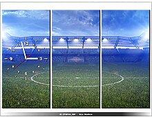 90x60cm - Leinwandbild mit Wanduhr - Moderne Dekoration - Holzrahmen - Stadion, Rasen, Tribünen, Fußballplatz, Ball-Spiel, Spaß