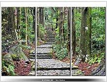 90x60cm - Leinwandbild mit Wanduhr - Moderne Dekoration - Holzrahmen - Die Route auf der Wakayama in Japan
