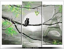 90x70cm - Leinwandbild mit Wanduhr - Moderne Dekoration - Holzrahmen - Romantische Sonnenaufgang in Paris in einer grünen Leuch