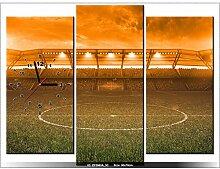 90x70cm - Leinwandbild mit Wanduhr - Moderne Dekoration - Holzrahmen - Stadion in der Sonne