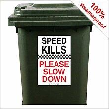 9423 Aufkleber für Mülltonnen, Motiv Speed Kills