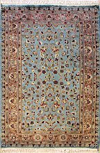 94x140 Pak Persian Area Rug with Silk & Wool Pile - Floral Design | 100% Original Hand-Knotted in Greenish Blue,Orange,Red colors | a 91 x 152 Rectangular Rug