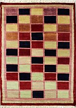 94x147 Gabbeh Area Rug with Wool Pile - Gabbeh Design | 100% Original Hand-Knotted in Red,White,Blue colors | a 91 x 152 Rectangular Rug