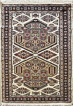 94x152 Caucasian Design Area Rug with Silk & Wool Pile - Geometric Design | 100% Original Hand-Knotted in Ivory,Gold,Black colors | a 91 x 152 Rectangular Rug