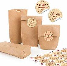 96 kleine braune Papiertüten natur Kraftpapier 9