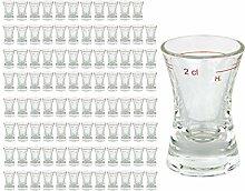 96er Set Schnapsglas WACHTMEISTER mit Eichstrich,