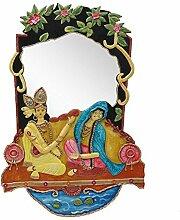999store Radha Krishna Handarbeit Holz Deko Wandspiegel Handarbeit Indian Home Rajasthani Home Décor Malerei