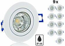 9er Feuchtraum LED Einbaustrahler Set IP44 mit