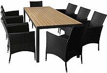 9er Gartenmöbel Set Gartentisch mit Polywood Tischplatte 205x90cm Braun 8x Rattansessel mit Polyrattanbespannung inkl. Sitzkissen Terrassenmöbel