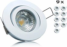 9er LED Einbaustrahler Set mit Marken GU10 LED