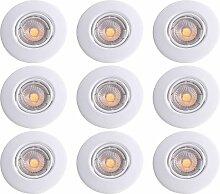 9er Set LED Einbau Leuchten rund Decken Strahler