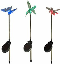 9er Set Solar Stableuchten Gartendeko Libelle Kolibri Schmetterling Lights4fun