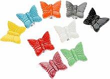 9Pcs Mischfarbe Keramik Schmetterling Form europäische Stil Schrank Schublade Kindermöbel Türknöpfe Türgriff Türknauf
