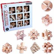 9St. Holz Knobelspiele Set Rätsel Brainteaser IQ