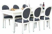 9tlg. Essgruppe BAROCK Esstisch Esszimmertisch Tisch Erweiterbar massiv weiß