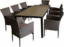 9tlg. Gartengarnitur Sitzgruppe Terrassenmöbel Gartenmöbel Set Sitzgarnitur - Gartentisch, 205x90cm, Polywood-Tischplatte + 8x Polyrattan Gartensessel, stapelbar, braun-meliert, inkl. Sitzkissen