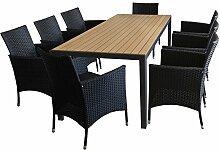 9tlg. Gartenmöbel Set Sitzgruppe Gartengarnitur - Gartentisch, Polywood Tischplatte Braun, 205x90cm + 8x Rattansessel, Polyrattanbespannung Schwarz, inkl. Sitzpolster / Sitzgarnitur Terrassenmöbel