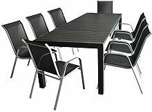 9tlg. Sitzgarnitur - Aluminium Ausziehtisch 205/275x100cm, Polywood Tischplatte + 8x Stapelstuhl, Textilen - silber / schwarz - Gartengarnitur Sitzgruppe Gartenmöbel Set Terrassenmöbel