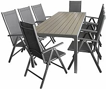 9tlg. Sitzgarnitur Sitzgruppe Gartengarnitur Gartenmöbel Terrassenmöbel Set Aluminium Polywood Tisch 205x90cm + 8x Hochlehner 2x2 Textilen