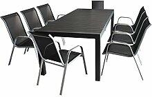 9tlg. Sitzgruppe Gartengarnitur Gartenmöbel Terrassenmöbel Set - Ausziehtisch, 224/284/344x100cm, Polywood-Tischplatte, schwarz + 8x Gartenstuhl, stapelbar, Textilenbespannung, silber/schwarz