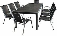 9tlg. Sitzgruppe Gartengarnitur Gartenmöbel Terrassenmöbel Set - Aluminium Ausziehtisch, 224/284/344x100cm, Polywood-Tischplatte, schwarz + 8x Stapelstuhl, Textilenbespannung, silber/schwarz