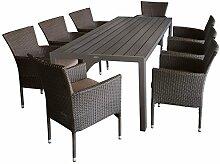 9tlg. Sitzgruppe Gartengarnitur Terrassenmöbel Gartenmöbel Set - Gartentisch, 205x90cm, Polywood-Tischplatte champagner + 8x Sessel, Polyrattan, stapelbar, braun-meliert, inkl. Kissen