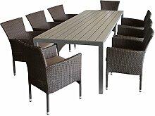 9tlg. Sitzgruppe Gartengarnitur Terrassenmöbel Gartenmöbel Set - Gartentisch, 205x90cm, Polywood-Tischplatte grau + 8x Sessel, Polyrattan, stapelbar, braun-meliert, inkl. Kissen