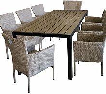 9tlg. Terrassenmöbel Gartenmöbel Set Gartengarnitur Sitzgruppe Sitzgarnitur - Gartentisch, Polywood-Tischplatte, 205x90cm, Braun/Schwarz + 8x Gartensessel, Poly-Rattangeflecht, naturfarben