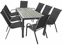 9tlg Terrassenmöbel Set Gartentisch Polywood Aluminium 205x90cm + 8x Stapelstuhl Stahlgestell Textilenbespannung Anthrazit Sitzgarnitur Gartenmöbel Gartengarnitur