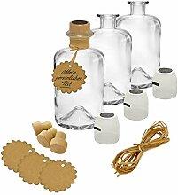 9x Apotheker Flaschen Glas Geschenk Komplettset