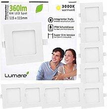 9x Lumare LED Einbauspot 6W IP44 extra flach 230V
