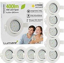 9x Lumare LED Einbaustrahler 4W 400lm 230V IP44