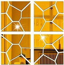 A 4ST Geometrisch Acryl 3D Spiegelwand Aufkleber Dekorativer Spiegel Wohnzimmer Dekorativen,Gold-20*80cm